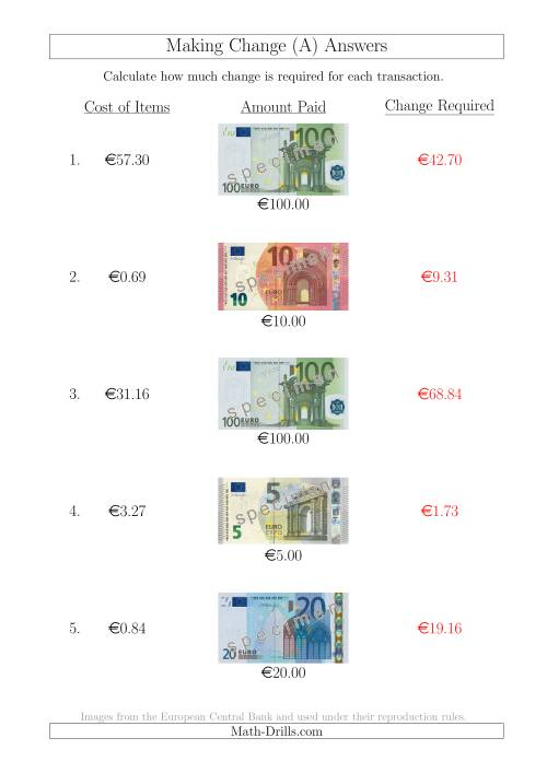 The Making Change from Euro Notes up to €100 (All) Math Worksheet Page 2