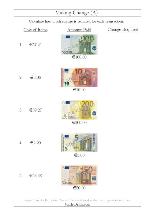 The Making Change from Euro Notes up to €200 (A) Math Worksheet