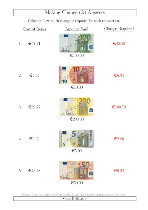 The Making Change from Euro Notes up to €200 (A) Math Worksheet Page 2