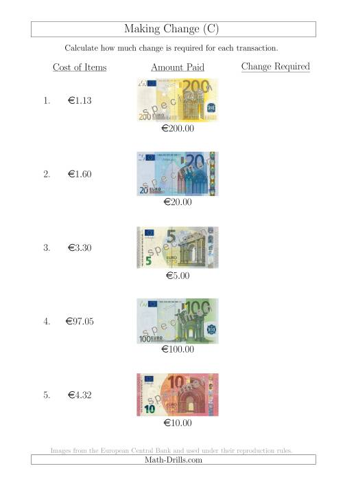 The Making Change from Euro Notes up to €200 (C) Math Worksheet