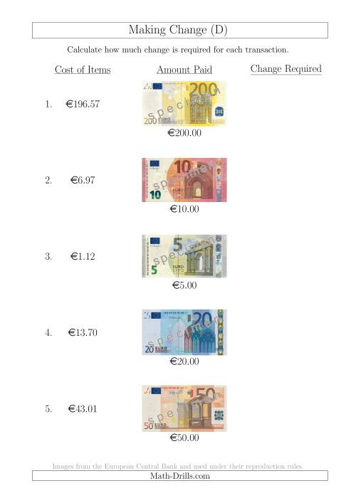 The Making Change from Euro Notes up to €200 (D) Math Worksheet