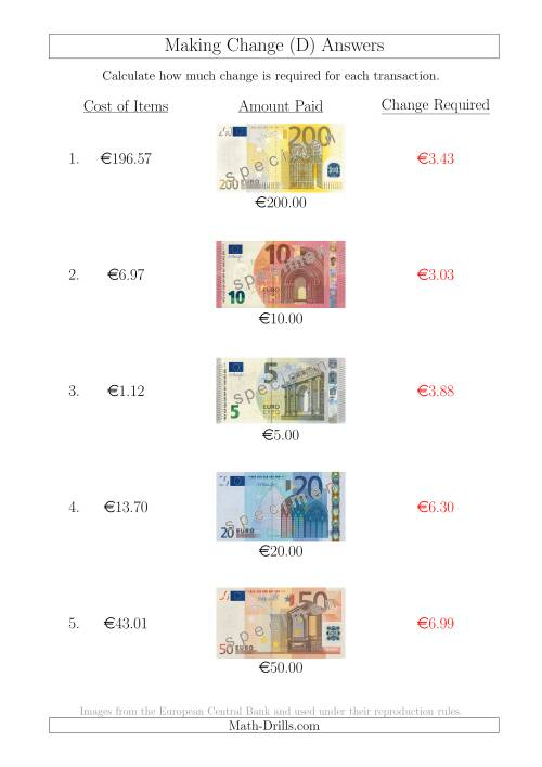 The Making Change from Euro Notes up to €200 (D) Math Worksheet Page 2