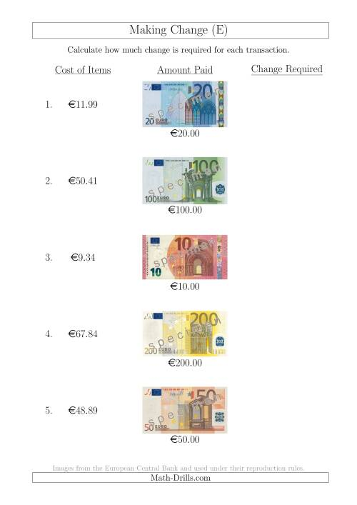 The Making Change from Euro Notes up to €200 (E) Math Worksheet