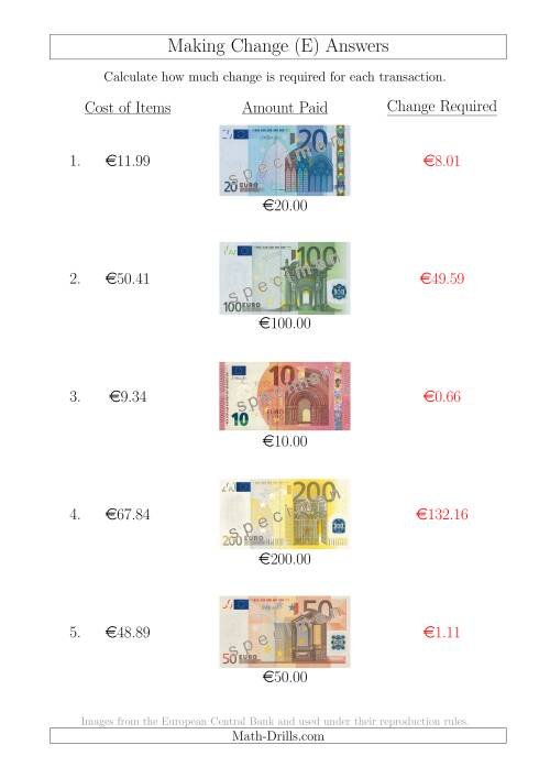 The Making Change from Euro Notes up to €200 (E) Math Worksheet Page 2
