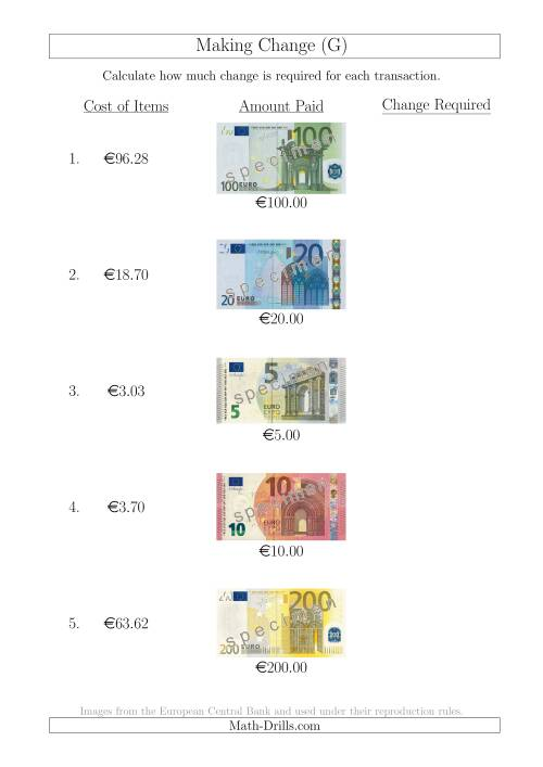 The Making Change from Euro Notes up to €200 (G) Math Worksheet