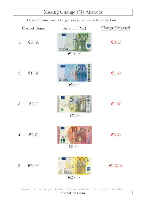 The Making Change from Euro Notes up to €200 (G) Math Worksheet Page 2