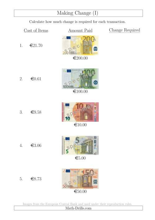 The Making Change from Euro Notes up to €200 (I) Math Worksheet