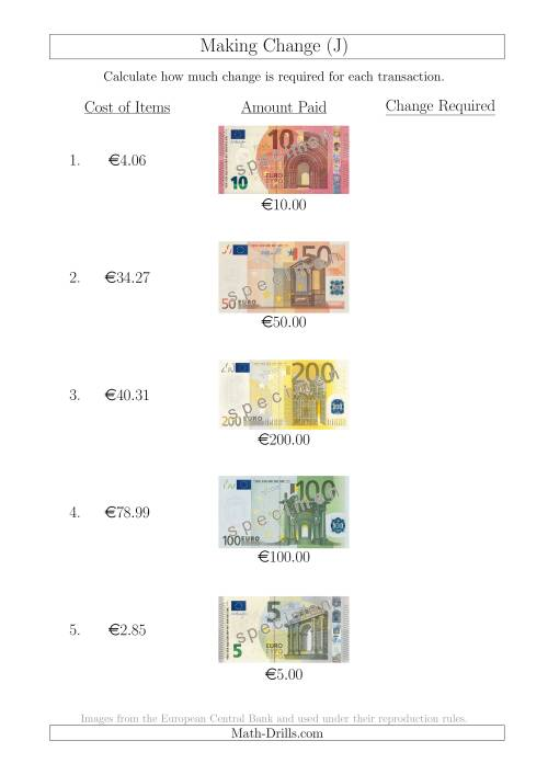 The Making Change from Euro Notes up to €200 (J) Math Worksheet