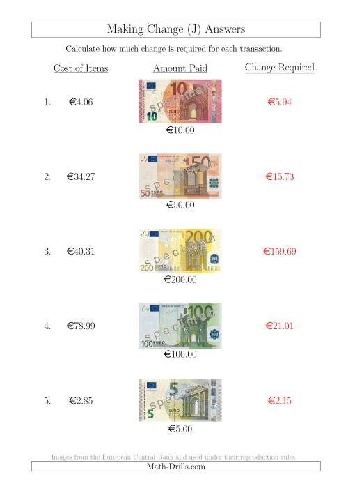 The Making Change from Euro Notes up to €200 (J) Math Worksheet Page 2