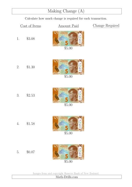 The Making Change from New Zealand $5 Banknotes (A) Math Worksheet