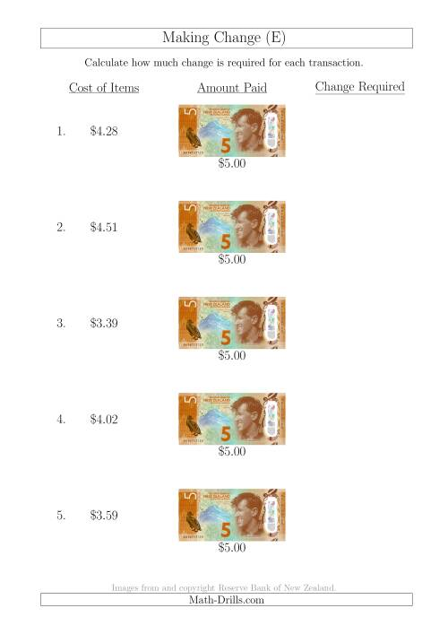 The Making Change from New Zealand $5 Banknotes (E) Math Worksheet