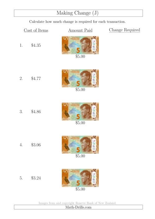 The Making Change from New Zealand $5 Banknotes (J) Math Worksheet