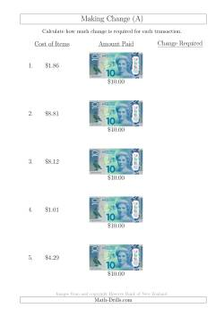 Making Change from New Zealand $10 Banknotes