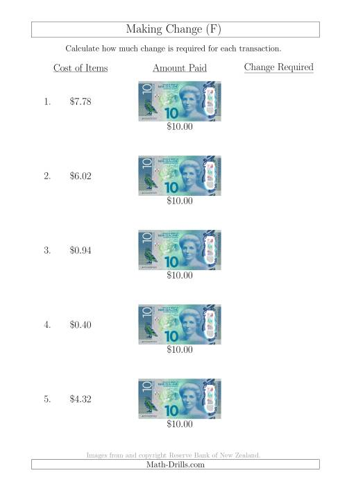 The Making Change from New Zealand $10 Banknotes (F) Math Worksheet