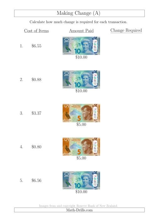 Making Change from New Zealand Banknotes up to 10 A – Making Change Math Worksheets