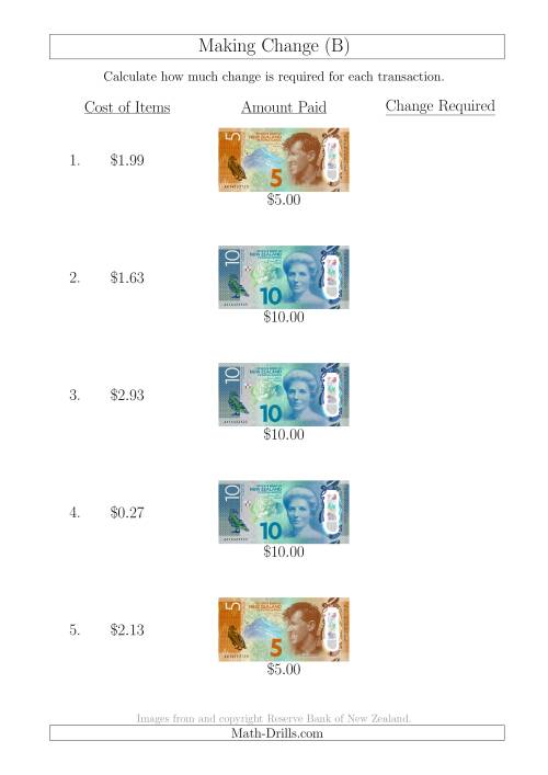 The Making Change from New Zealand Banknotes up to $10 (B) Math Worksheet