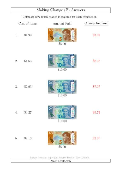 The Making Change from New Zealand Banknotes up to $10 (B) Math Worksheet Page 2
