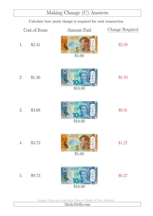 The Making Change from New Zealand Banknotes up to $10 (C) Math Worksheet Page 2