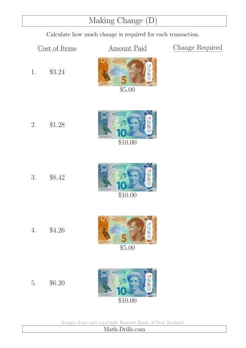 The Making Change from New Zealand Banknotes up to $10 (D) Math Worksheet