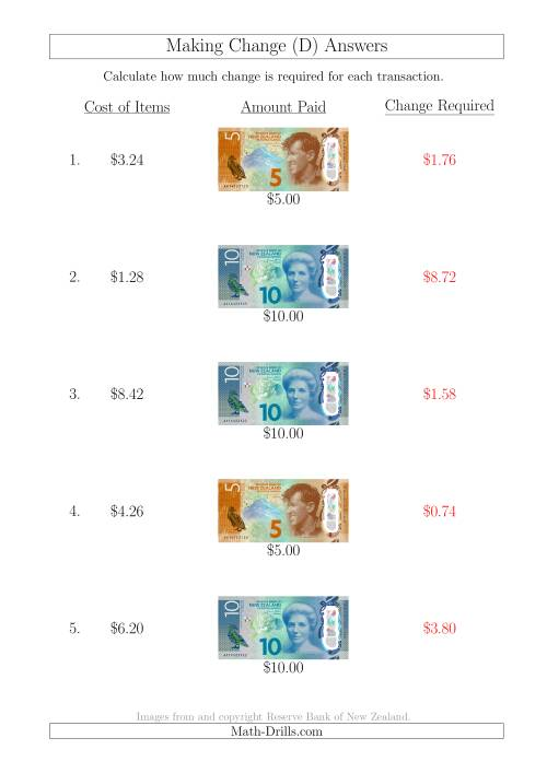 The Making Change from New Zealand Banknotes up to $10 (D) Math Worksheet Page 2