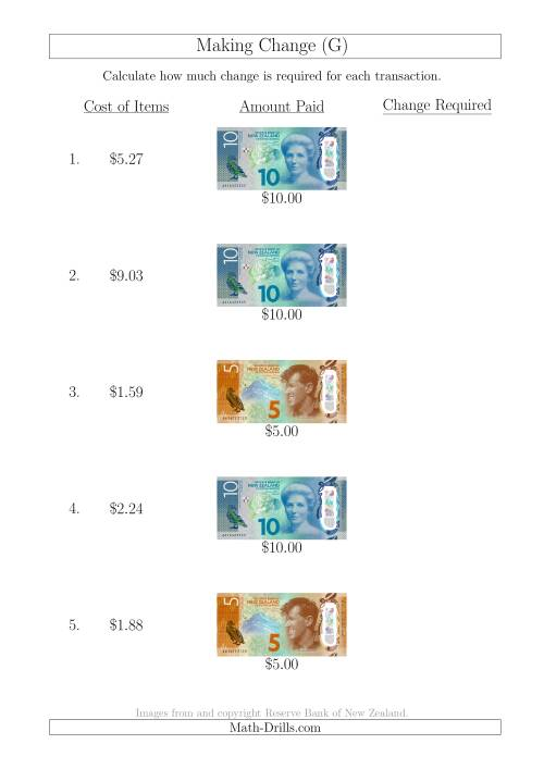 The Making Change from New Zealand Banknotes up to $10 (G) Math Worksheet