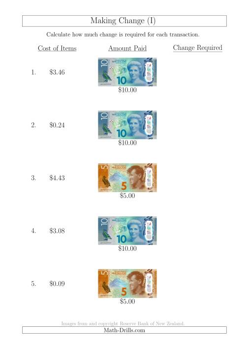 The Making Change from New Zealand Banknotes up to $10 (I) Math Worksheet