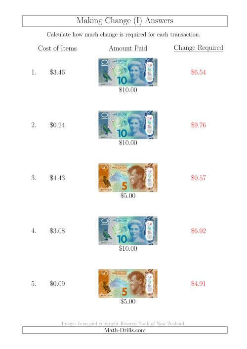The Making Change from New Zealand Banknotes up to $10 (I) Math Worksheet Page 2