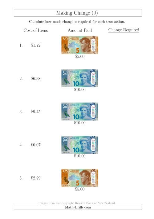 The Making Change from New Zealand Banknotes up to $10 (J) Math Worksheet