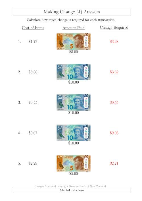 The Making Change from New Zealand Banknotes up to $10 (J) Math Worksheet Page 2