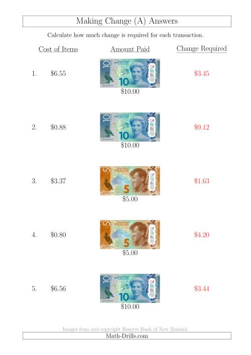 The Making Change from New Zealand Banknotes up to $10 (All) Math Worksheet Page 2