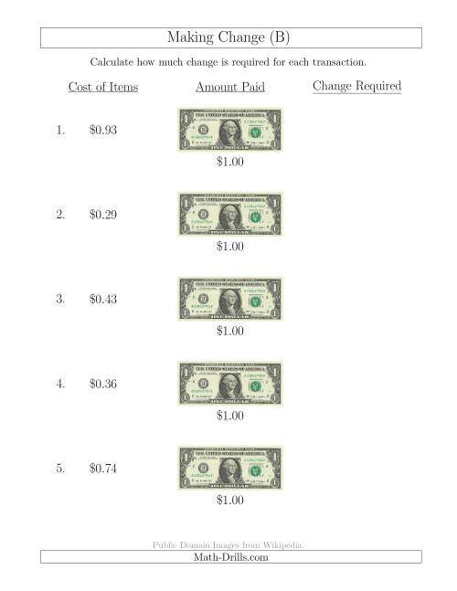 The Making Change from U.S. $1 Bills (B) Math Worksheet