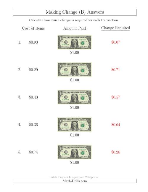 The Making Change from U.S. $1 Bills (B) Math Worksheet Page 2