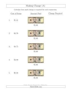 Making Change from U.S. $5 Bills (A)