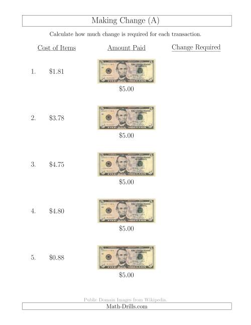 Making Change from U.S. $5 Bills (A) Money Worksheet