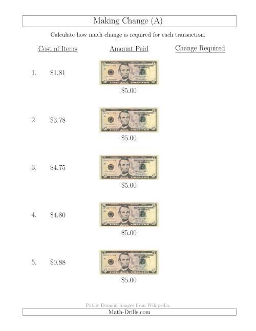 making change from u s 5 bills a money worksheet. Black Bedroom Furniture Sets. Home Design Ideas