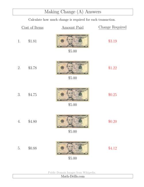 The Making Change from U.S. $5 Bills (A) Math Worksheet Page 2