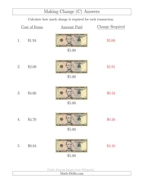 The Making Change from U.S. $5 Bills (C) Math Worksheet Page 2