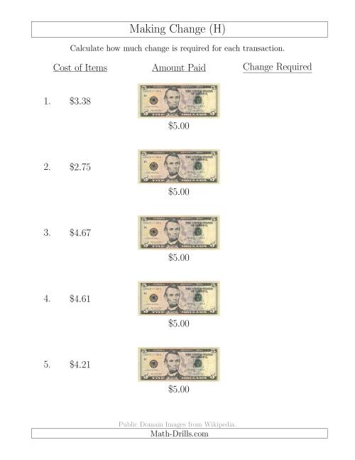 The Making Change from U.S. $5 Bills (H) Math Worksheet