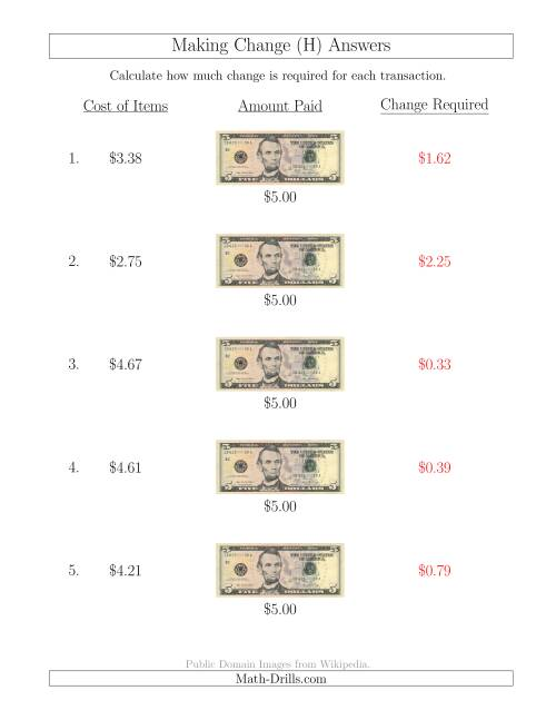 The Making Change from U.S. $5 Bills (H) Math Worksheet Page 2