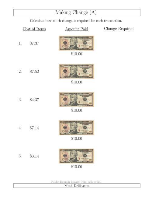 math worksheet : making change from u s $10 bills a money worksheet : How To Make A Math Worksheet