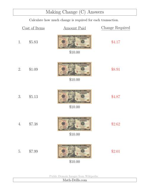 The Making Change from U.S. $10 Bills (C) Math Worksheet Page 2