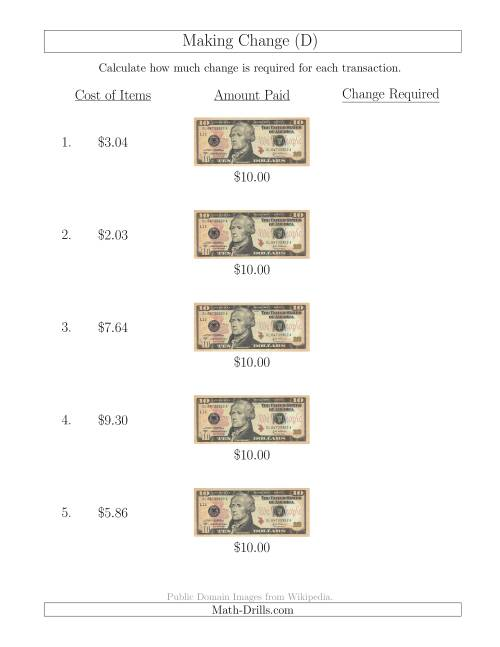 The Making Change from U.S. $10 Bills (D) Math Worksheet