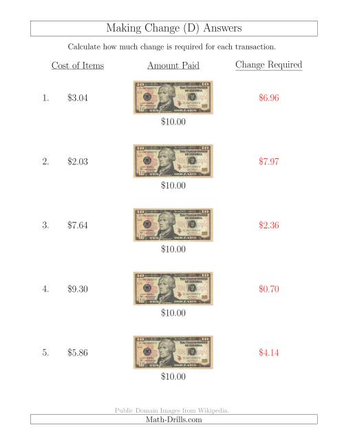The Making Change from U.S. $10 Bills (D) Math Worksheet Page 2