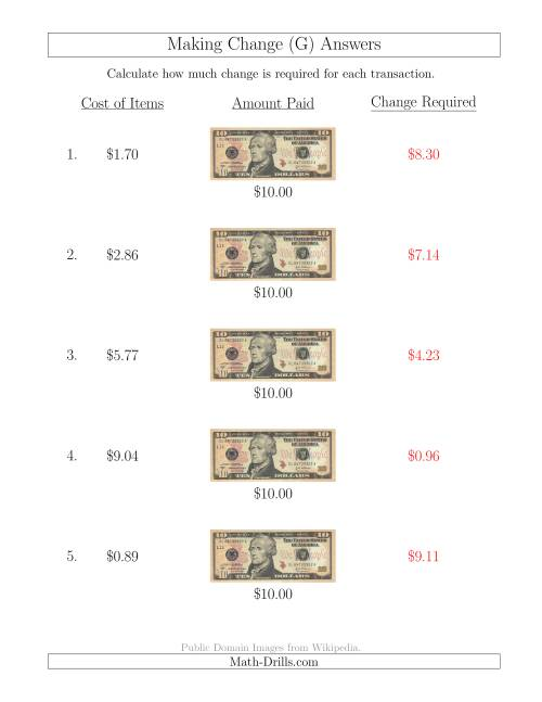 The Making Change from U.S. $10 Bills (G) Math Worksheet Page 2