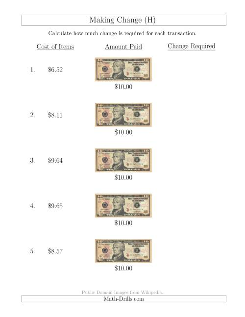 The Making Change from U.S. $10 Bills (H) Math Worksheet