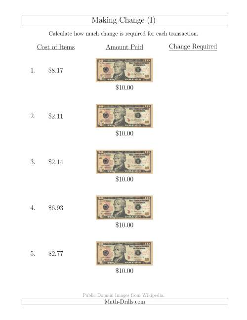 The Making Change from U.S. $10 Bills (I) Math Worksheet