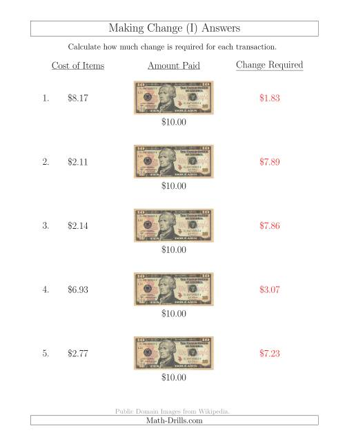 The Making Change from U.S. $10 Bills (I) Math Worksheet Page 2