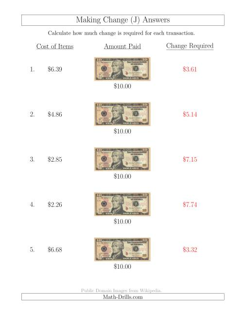 The Making Change from U.S. $10 Bills (J) Math Worksheet Page 2