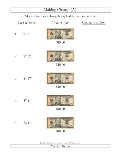 The Making Change from U.S. $10 Bills (All) Math Worksheet