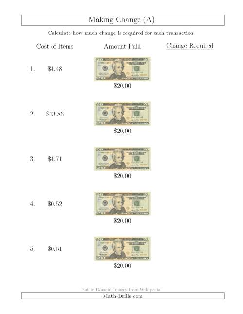The Making Change from U.S. $20 Bills (A) Math Worksheet